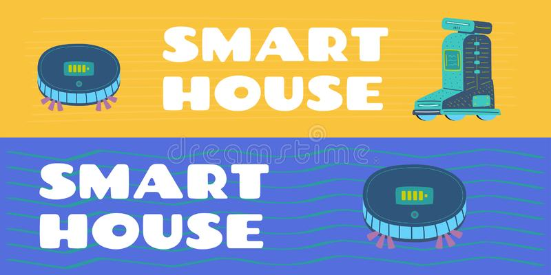 Hem- konstgjord intelligens för assistent och för robot vektor illustrationer