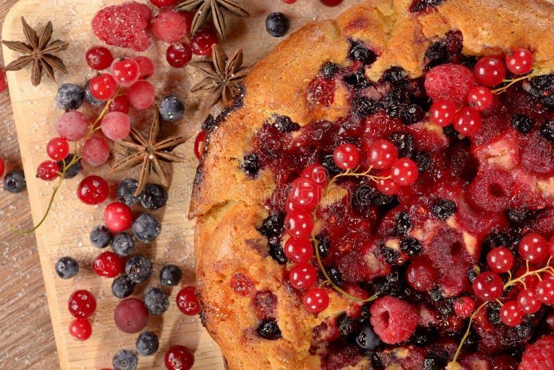 Hem-lagad mat paj med tranbäret för hallonblåbärvinbär arkivbild
