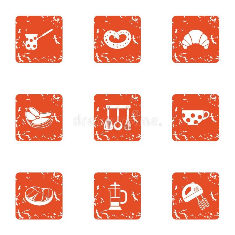 Hem lagad mat symbolsuppsättning, grungestil vektor illustrationer