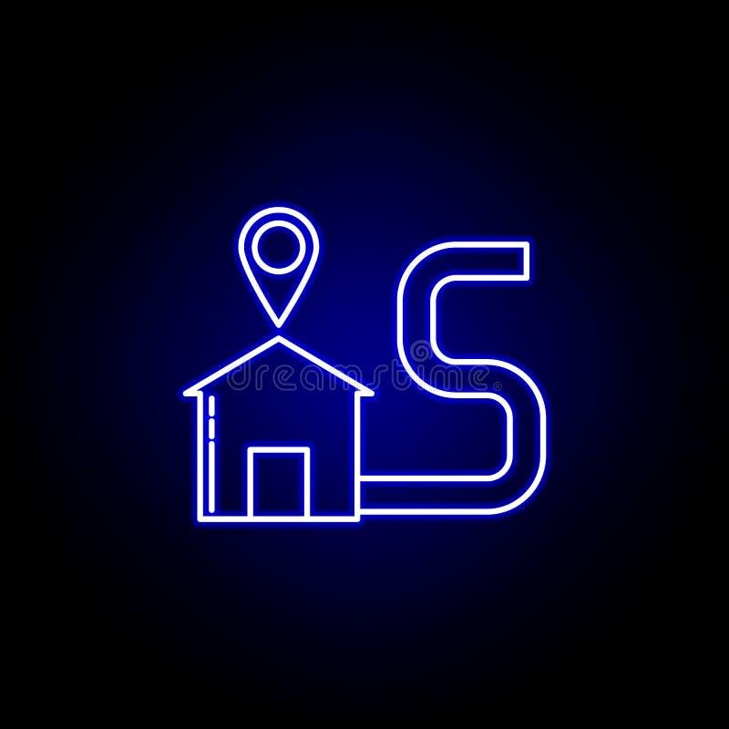 hem- linje symbol för leveransläge i blå neonstil Ställ in av logistikillustrationsymboler Tecknet symboler kan användas för reng royaltyfri illustrationer