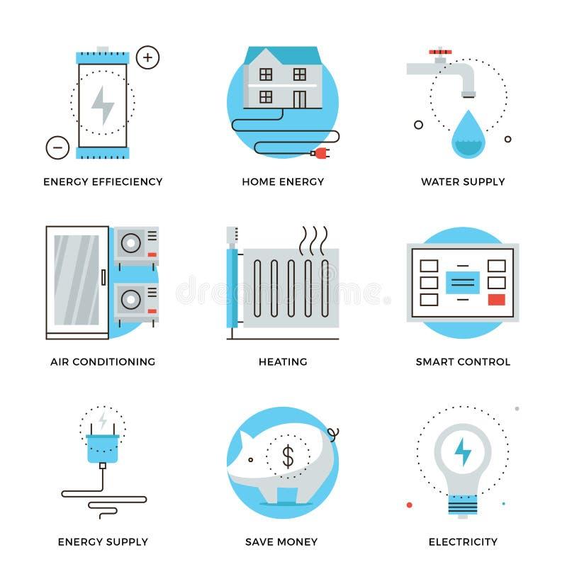 Hem- linje symbolsuppsättning för energieffektivitet vektor illustrationer