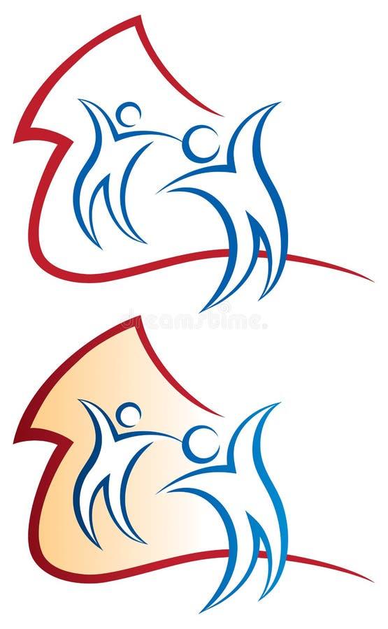 Hem- logo royaltyfri illustrationer