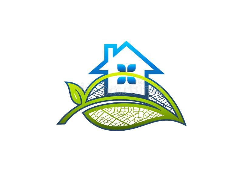 Hem- logo, blad, hus, arkitektur, symbol, natur, byggnad, trädgård och grön fastighetbegreppsdesign royaltyfri illustrationer