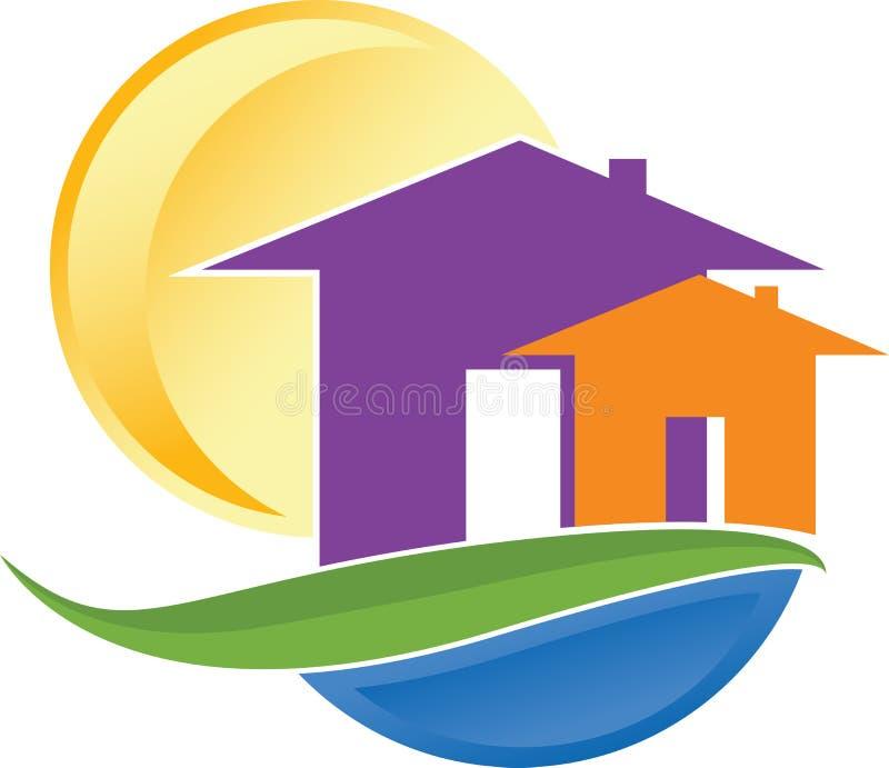 Hem- logo för blad vektor illustrationer