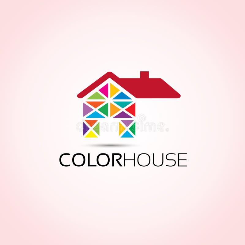 Hem- logo för kulört hus royaltyfri illustrationer