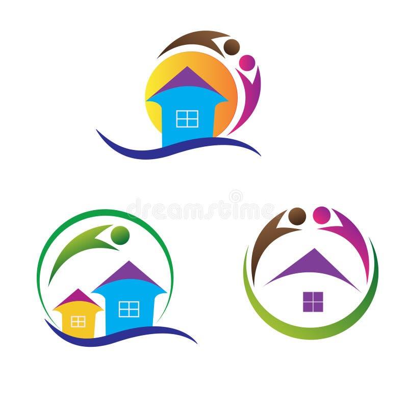 Hem- logoer royaltyfri illustrationer
