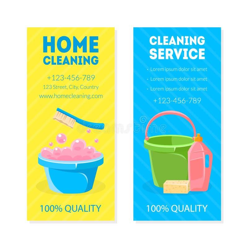 Hem- lokalvård, det vertikala banret för service, kortet eller reklambladmallar ställde in, hushållningservice som annonserar vek vektor illustrationer