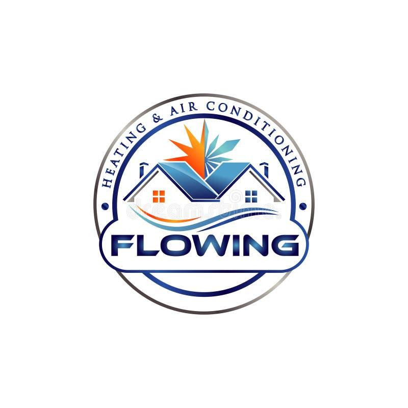 Hem- luftkonditioneringsapparat Logo Symbol Icon royaltyfri illustrationer
