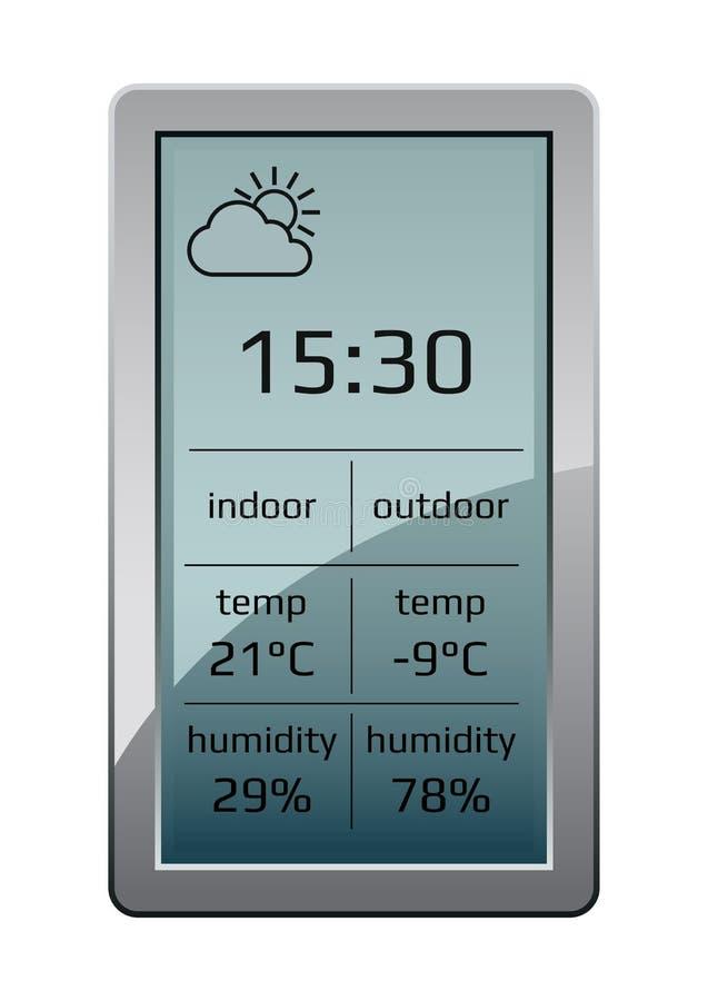 Hem- manick för väderstation Utrustning för hem för väderstation som indikeras tid, temperatur i celsius för grader och relativ h vektor illustrationer