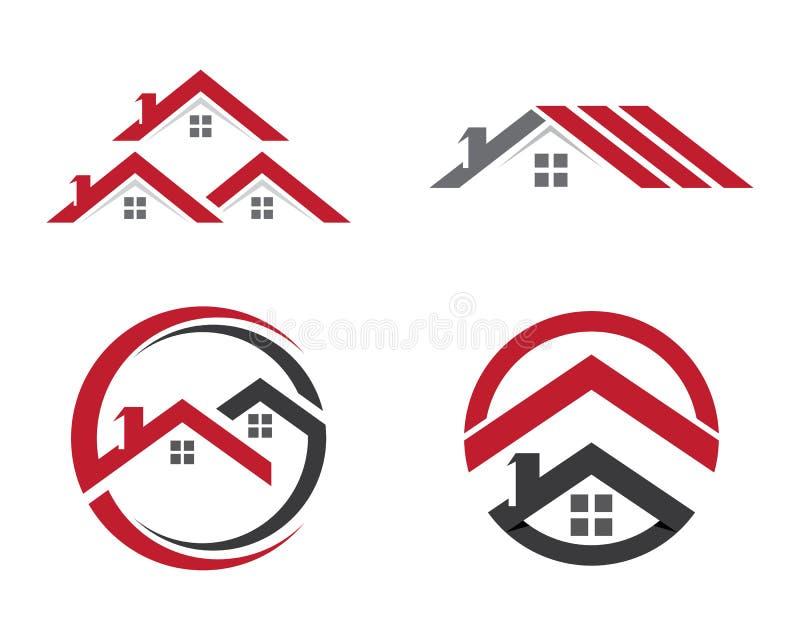 Hem- och byggnadslogomall stock illustrationer