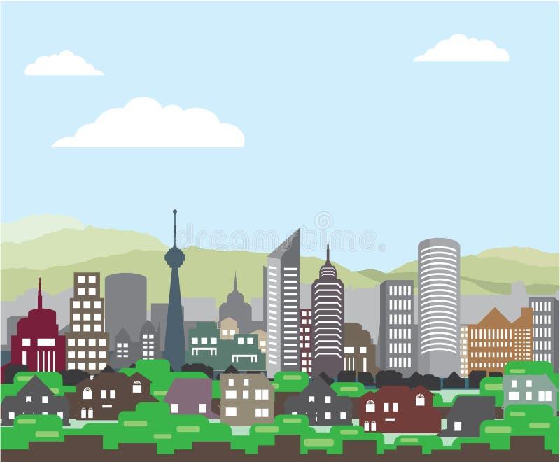 Hem och skyskrapor för Cityscapekullevektor royaltyfri illustrationer