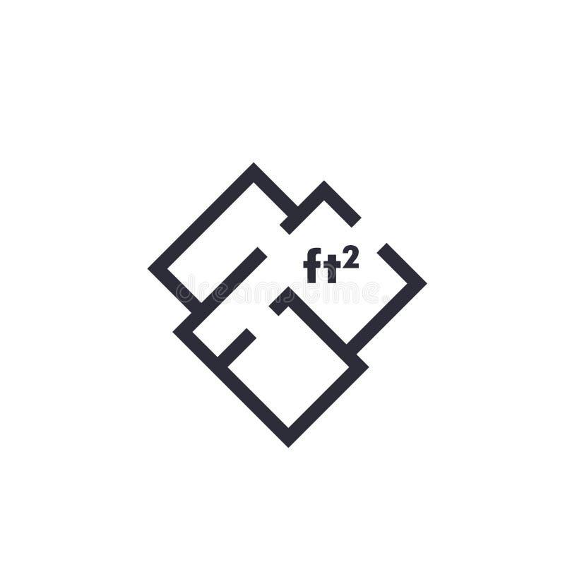 Hem- plan, lägenhet, symbol för rumorienteringsvektor royaltyfri illustrationer