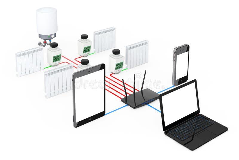 Hem- radio för klimatkontrollsystem som kontrolleras av bärbara datorn, tabell stock illustrationer