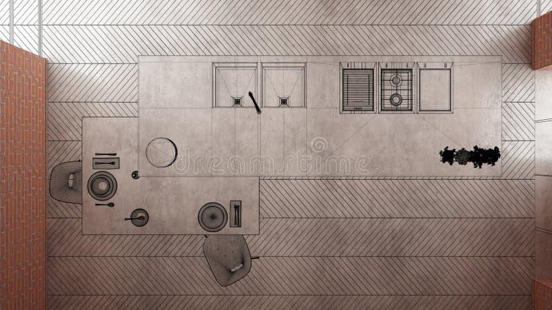 Hem- renovering, bakgrund f?r husutvecklingsbegreppet, inredesign under konstruktion, projekt f?r best?llnings- design, svart f?r vektor illustrationer