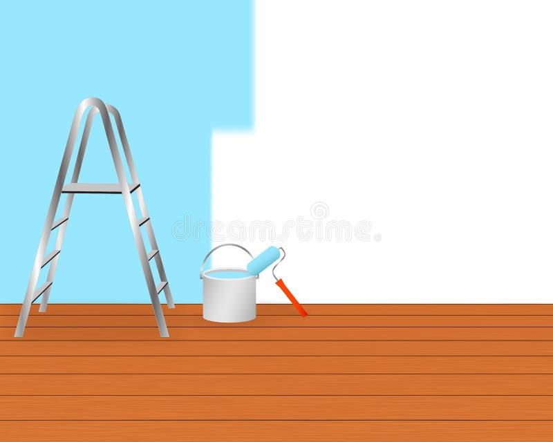 Hem- renoveringbegrepp med målningutrustning royaltyfri illustrationer