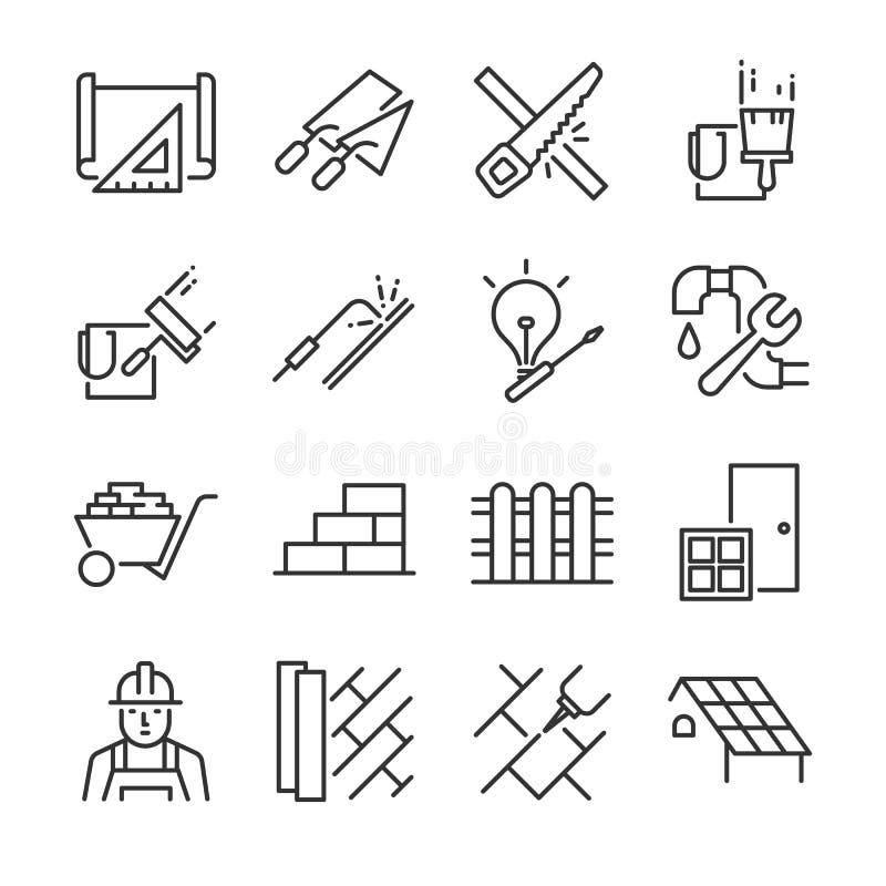 Hem- renoveringsymbolsuppsättning Inklusive symbolerna som målarfärg, väggen, taket, sågen, konstruktion, plan, golv och mer vektor illustrationer