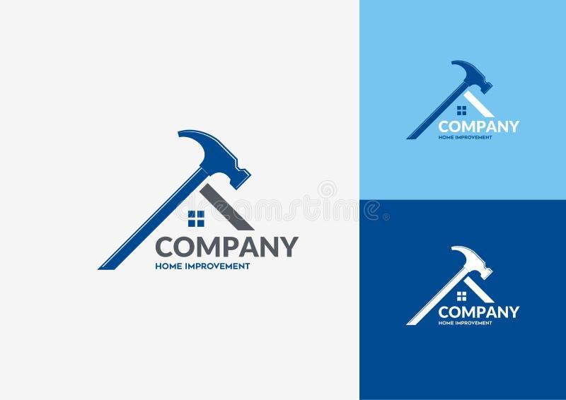 Hem- reparation Logo Concept vektor illustrationer