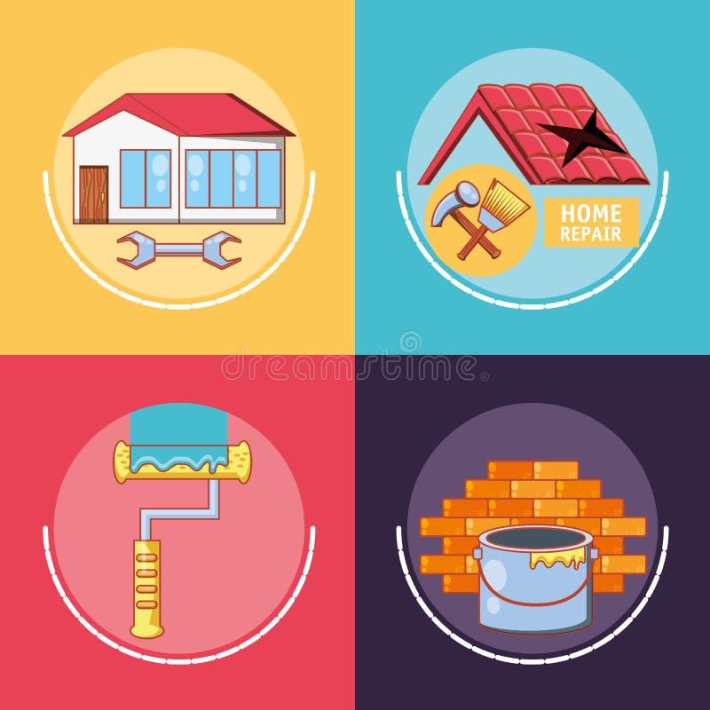 Hem- reparation med symboler för hjälpmedeluppsättning royaltyfri illustrationer