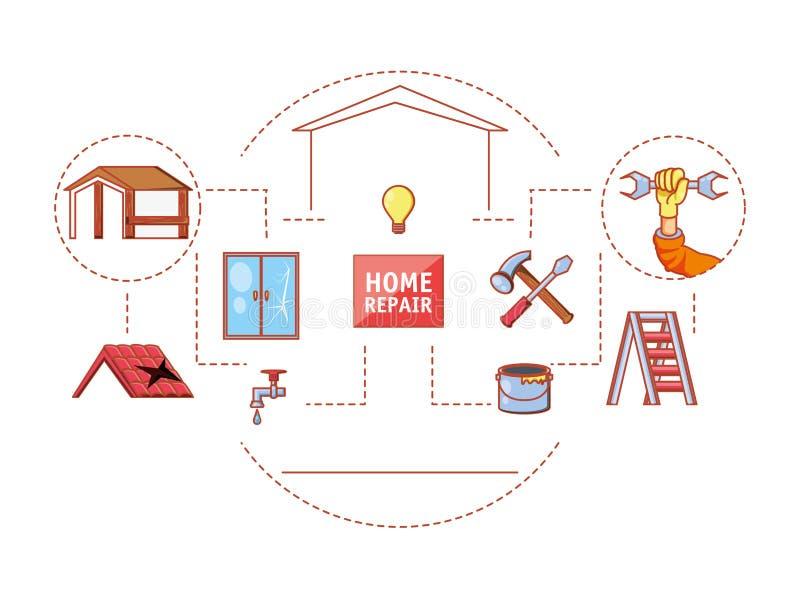 Hem- reparation med symboler för hjälpmedeluppsättning vektor illustrationer