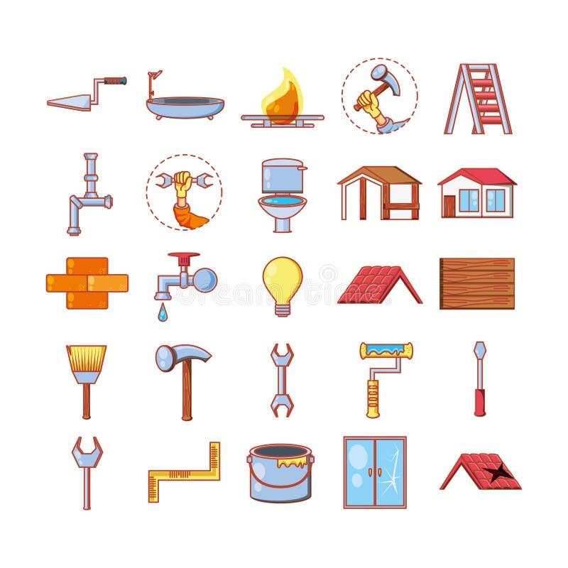Hem- reparation med symboler för hjälpmedeluppsättning stock illustrationer
