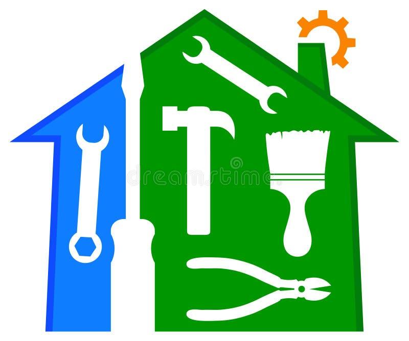 Hem- reparations- och förbättringslogo stock illustrationer