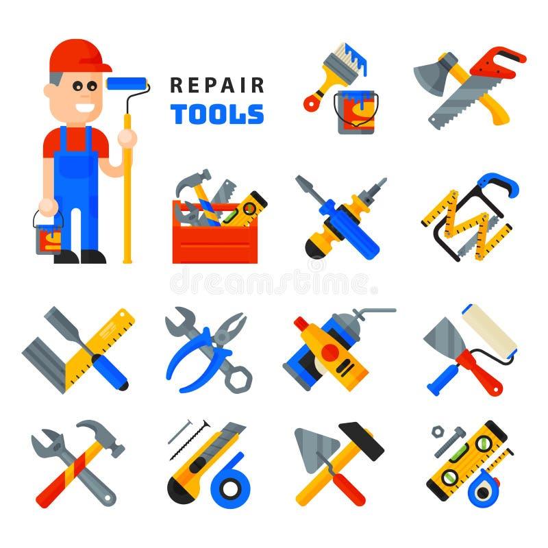 Hem- reparationshjälpmedelsymboler som arbetar isolerad konstruktionsutrustning, ställer in och servar stil för lägenhet för teck vektor illustrationer