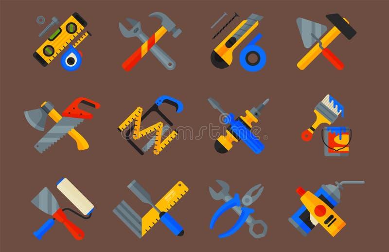 Hem- reparationshjälpmedelsymboler som arbetar konstruktionsutrustning, ställer in och servar stil för lägenhet för arbetarmacter vektor illustrationer