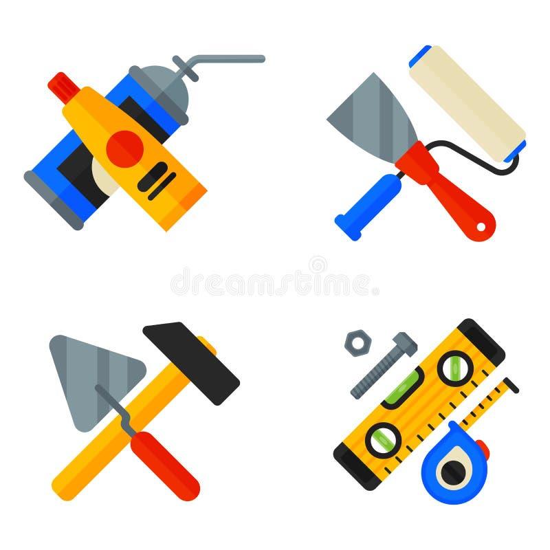 Hem- reparationshjälpmedelsymboler som arbetar konstruktionsutrustning ställer in och servar stil för lägenhet för arbetarmactera vektor illustrationer