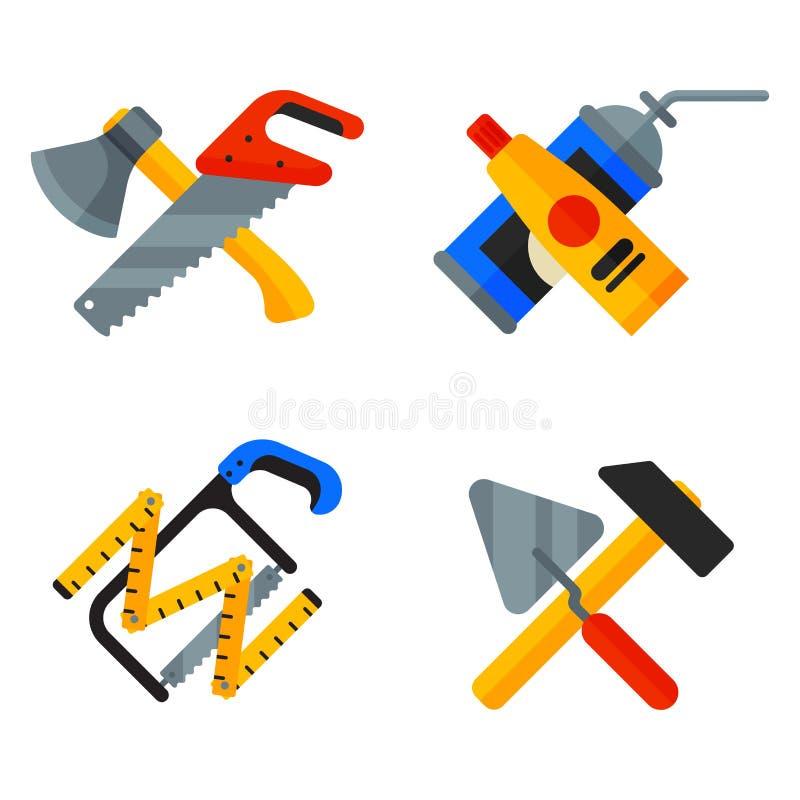 Hem- reparationshjälpmedelsymboler som arbetar konstruktionsutrustning ställer in och servar stil för lägenhet för arbetarmactera stock illustrationer