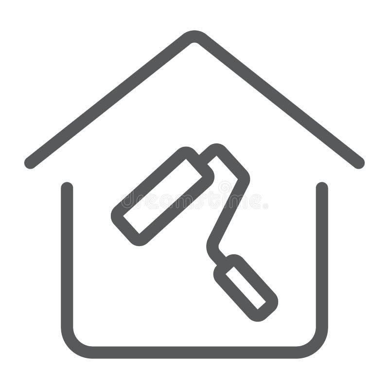 Hem- reparationslinje symbol, fastighet och hem royaltyfri illustrationer