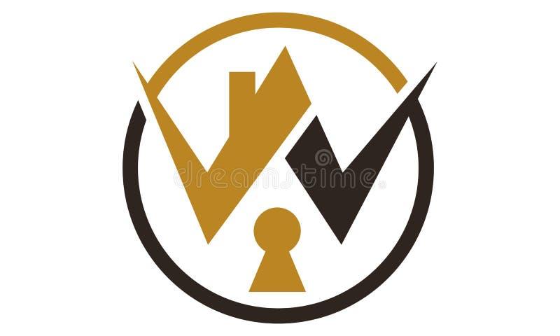 Hem- säkerhet Logo Design Template royaltyfri illustrationer