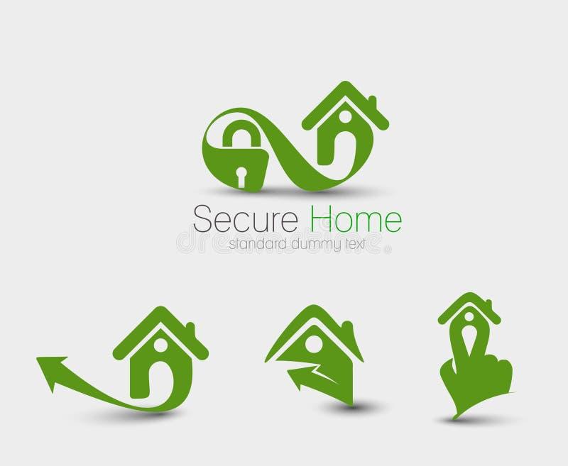 Hem- säkerhet Logo Set vektor illustrationer