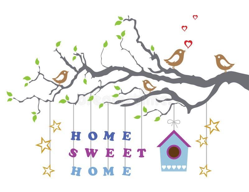 Hem- sötsakhem flyttning-i nytt hushälsningskort stock illustrationer