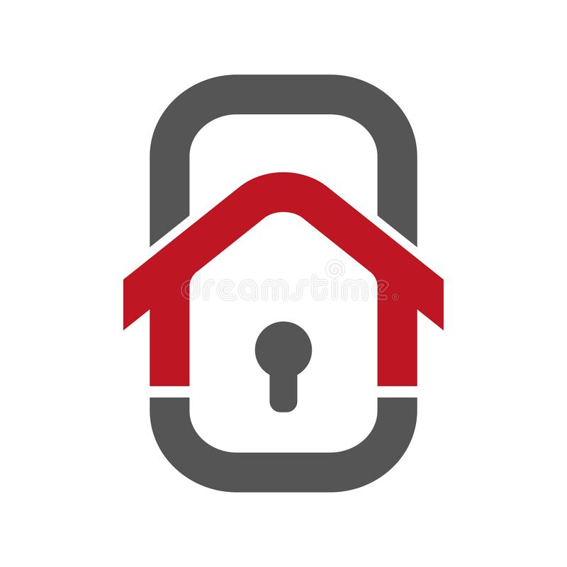 Hem- s?kerhet Logo Template Begrepp av smart hem- säkerhet Kontroll av huset genom att använda smartphonen Föreställa i form av royaltyfri illustrationer