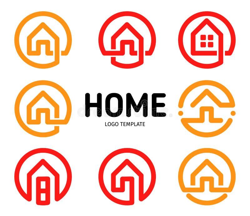 Hem- samling för vektor för logoöversiktsstil Uppsättning för fastighetaffärssymboler Hus isolerad symbol Idérik lägenhet royaltyfri illustrationer