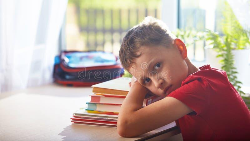 Hem- skolgång som gör läxa pojken lägger ner wearily på en bunt av böcker och läroböcker pysstudent som sitter på tabellen royaltyfria foton