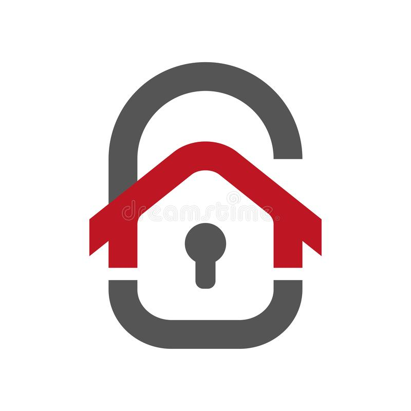 Hem- skyddssymbol Hus i form av ett dörrlås Skyddsvektorsymbol för rengöringsdukdesign som isoleras på vit royaltyfri illustrationer