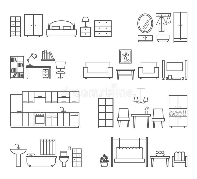 Hem- släkta symboler Möblemang för olika rum vektor illustrationer