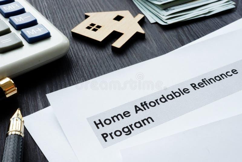 Hem- som man har råd med Refinance programHARPAlegitimationshandlingar arkivfoto