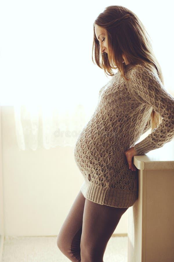 Hem- stående av gravida kvinnan royaltyfri foto