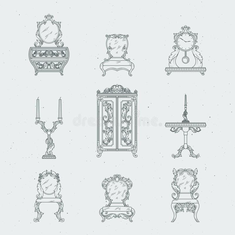 Hem- stolar för antikt möblemang, skänk, nattduksbord, spegel Illustrationer för vektorhandteckning i barock stil vektor illustrationer