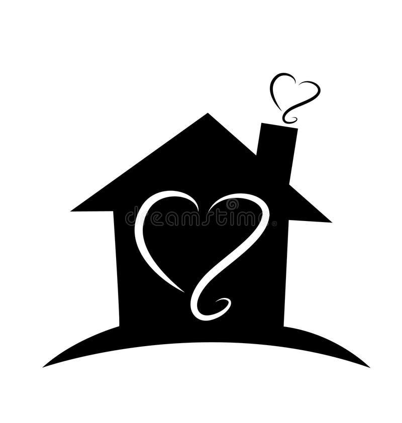 Hem- svart logo för vektor för konturhusöversikt stock illustrationer