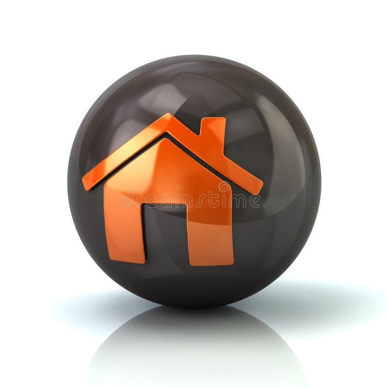 Hem- symbol för apelsin på svart glansig sfär vektor illustrationer