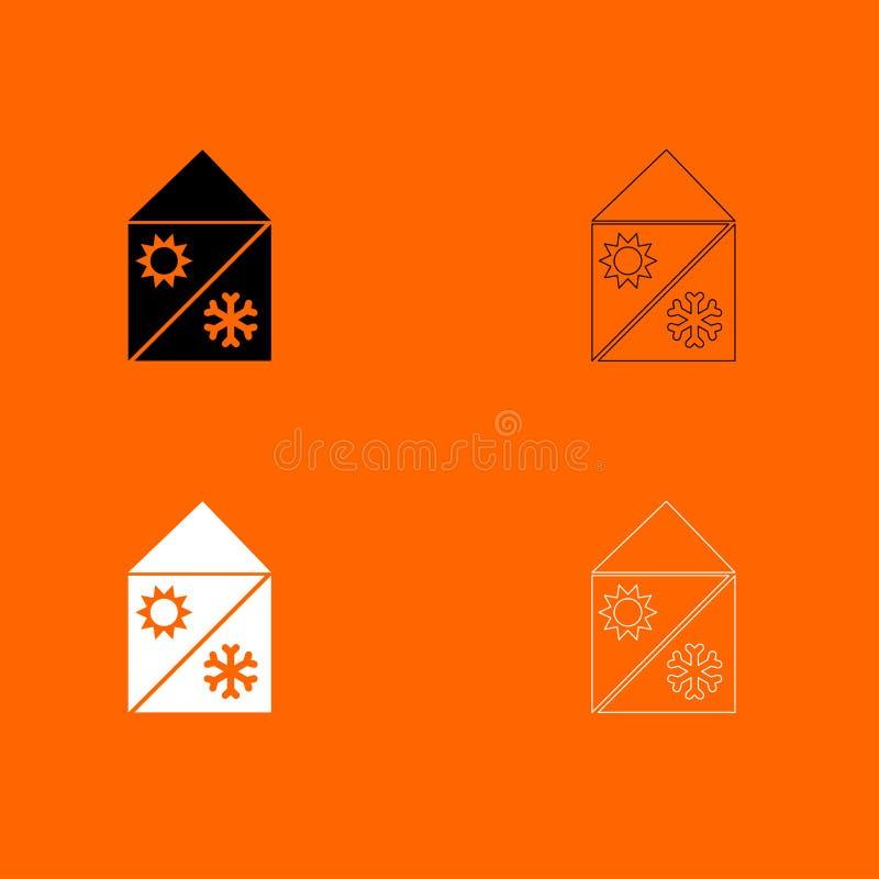 Hem- symbol för uppsättning för kyla och uppvärmningsystem svartvit royaltyfri illustrationer