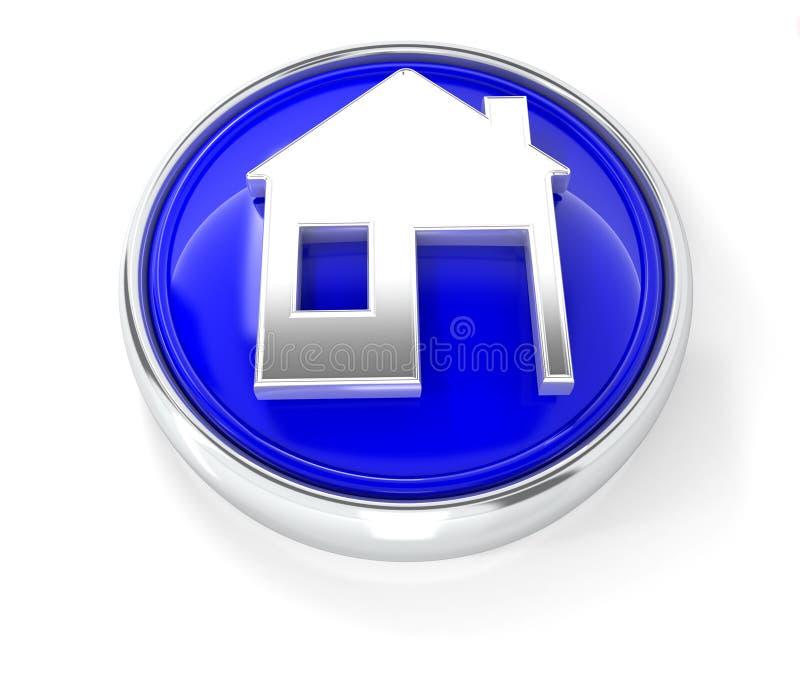 Hem- symbol på den glansiga blåa runda knappen royaltyfri illustrationer