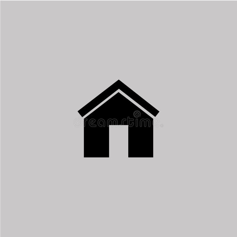 Hem- symbol på den gråa bakgrunden vektor illustrationer