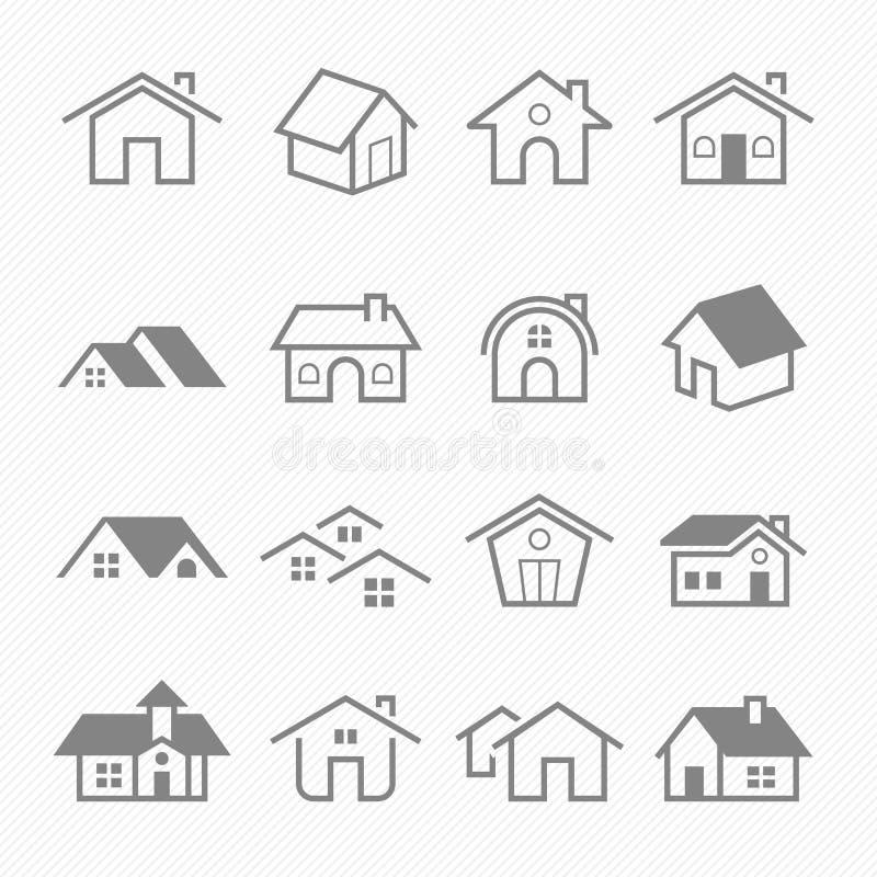 Hem- symboler för översiktsslaglängdsymbol royaltyfri illustrationer