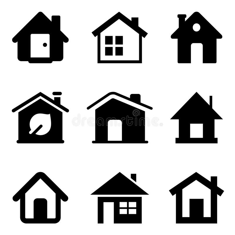 Hem- symboler för svart vektor illustrationer