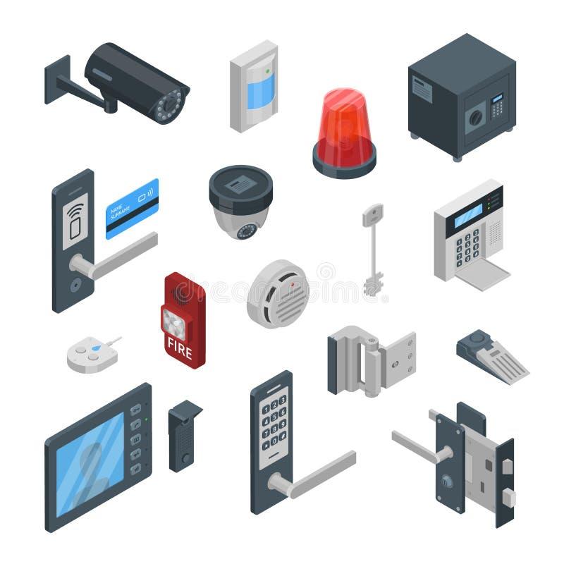 Hem- symboler för vektor 3d för säkerhetssystem isometriska och designbeståndsdelar Smarta teknologier, säkerhetshus, kontrollbeg vektor illustrationer