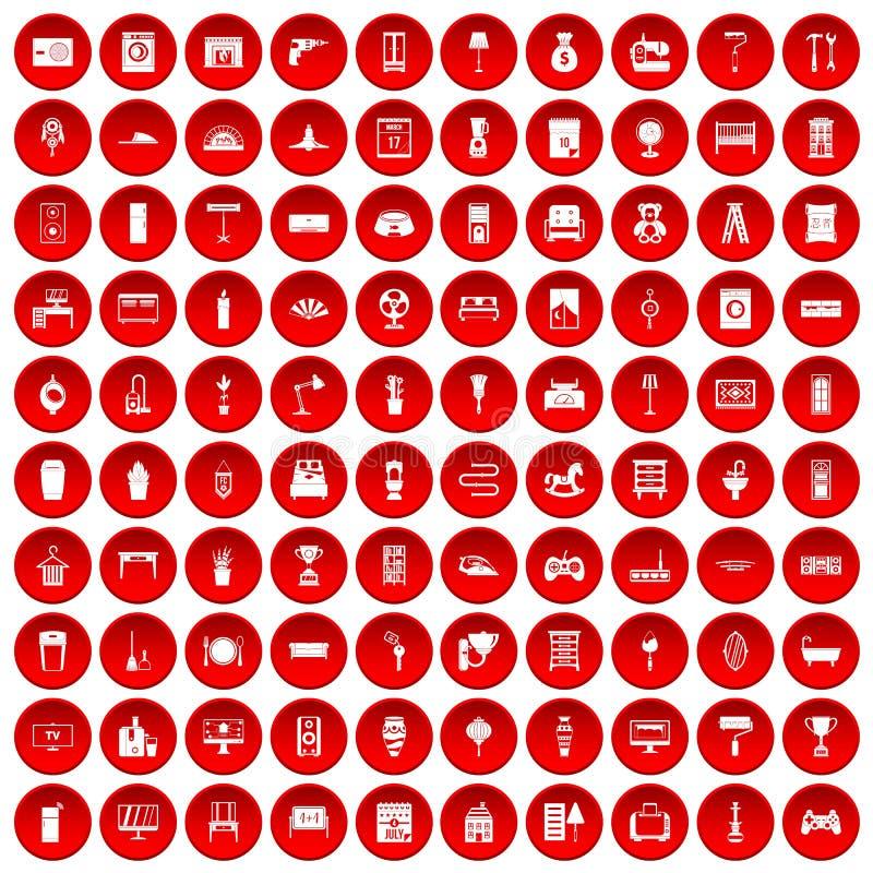 100 hem- symboler ställde in rött royaltyfri illustrationer